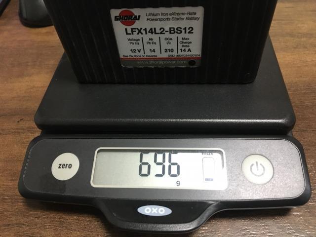 リチウムイオンバッテリー 重さ